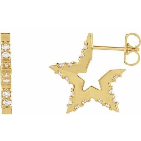 White Diamond Earrings in 14 Karat Yellow Gold 3/8 Carat Diamond Star Hoop Earrings