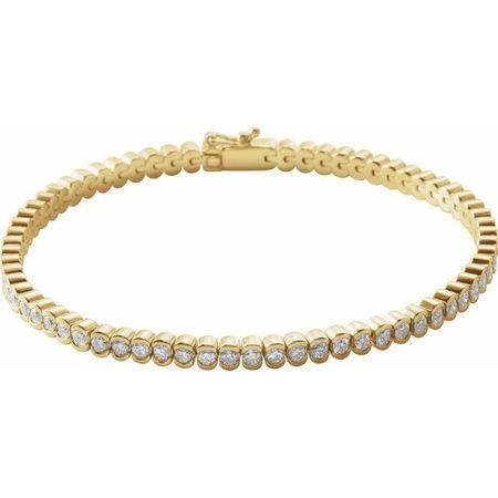 White Diamond Bracelet in 14 Karat Yellow Gold 3 Carat Diamond Line 7