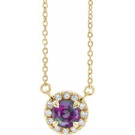Chatham Created Alexandrite Necklace in 14 Karat Yellow Gold 3 mm Round Chatham Lab-Created Alexandrite & .03 Carat Diamond 16