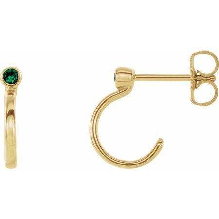 Genuine Emerald Earrings in 14 Karat Yellow Gold 3 mm Round Emerald Bezel-Set Hoop Earrings