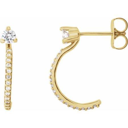 Created Moissanite Earrings in 14 Karat Yellow Gold 3 mm Round Forever One Moissanite & 1/6 Carat Diamond Earrings