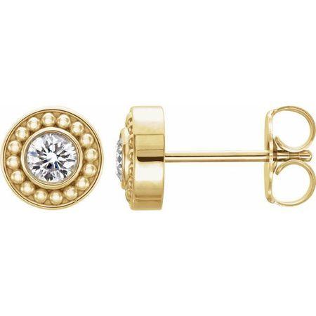 Created Moissanite Earrings in 14 Karat Yellow Gold 3 mm Round Forever One Moissanite Beaded Earrings