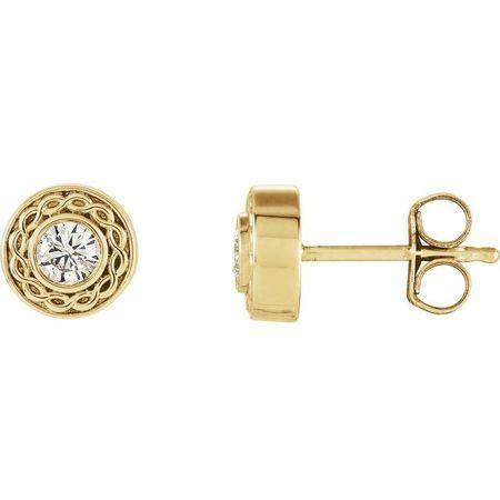Created Moissanite Earrings in 14 Karat Yellow Gold 3 mm Round Forever One Moissanite Earrings