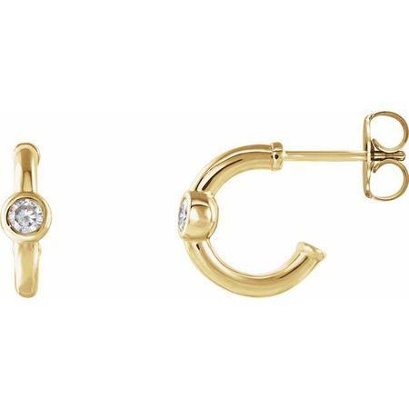Created Moissanite Earrings in 14 Karat Yellow Gold 3 mm Round Forever One Moissanite Hoop Earrings