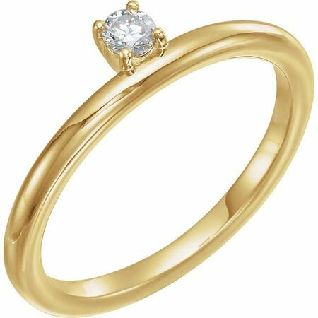 Created Moissanite Ring in 14 Karat Yellow Gold 3 mm Round Forever One Moissanite Ring