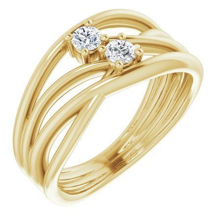 Created Moissanite Ring in 14 Karat Yellow Gold 3 mm Round Forever One Moissanite Ring