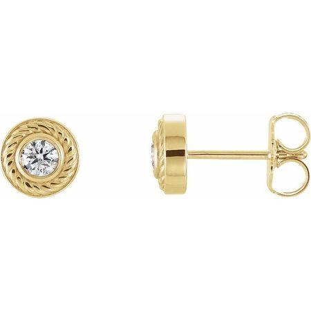 Created Moissanite Earrings in 14 Karat Yellow Gold 3 mm Round Forever One Moissanite Rope Earrings