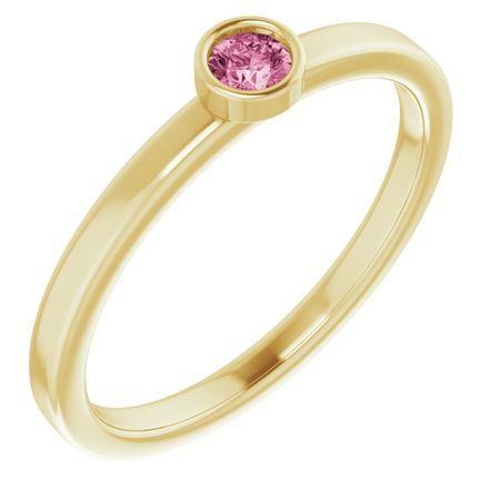 Pink Tourmaline Ring in 14 Karat Yellow Gold 3 mm Round Pink Tourmaline Ring