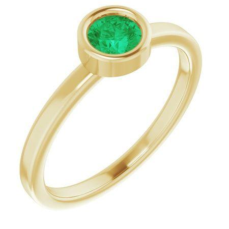 Genuine Emerald Ring in 14 Karat Yellow Gold 4.5 mm Round Emerald Ring