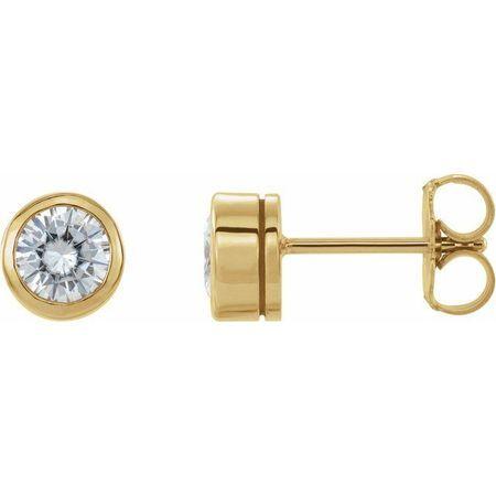 Created Moissanite Earrings in 14 Karat Yellow Gold 4.5 mm Round Forever One Moissanite Earrings