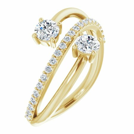 Created Moissanite Ring in 14 Karat Yellow Gold 4 mm Round Forever One Moissanite & 1/5 Carat Diamond Ring