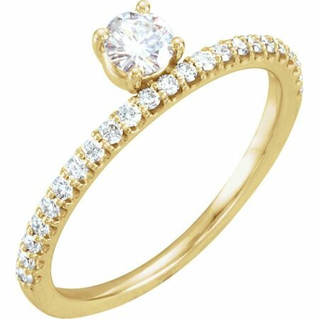 Created Moissanite Ring in 14 Karat Yellow Gold 4 mm Round Forever One Moissanite & 1/5 Carat Diamond Stackable Ring