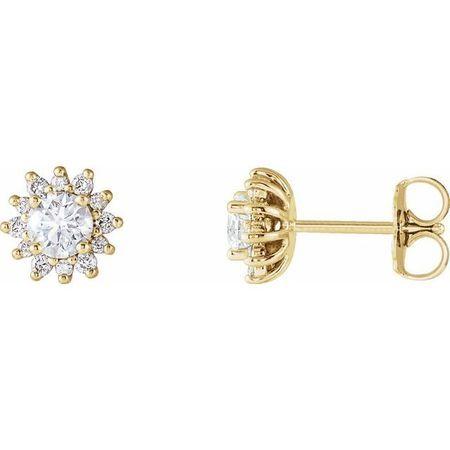 Created Moissanite Earrings in 14 Karat Yellow Gold 4 mm Round Forever One Moissanite & 1/6 Carat Diamond Earrings