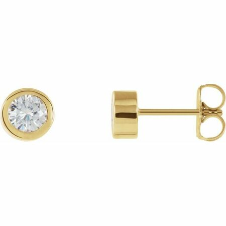 Created Moissanite Earrings in 14 Karat Yellow Gold 4 mm Round Forever One Moissanite Earrings