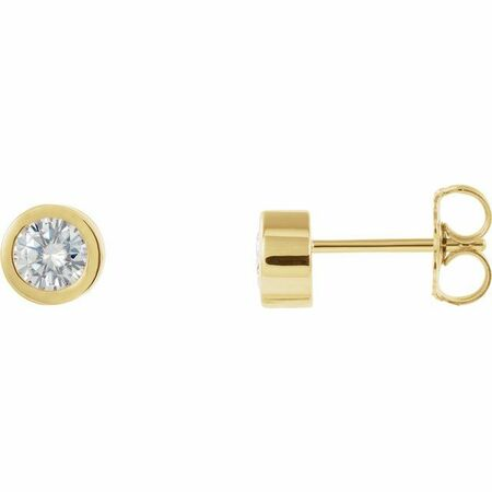 Created Moissanite Earrings in 14 Karat Yellow Gold 4 mm Round Forever One Moissanite Earrings
