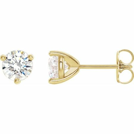 Moissanite Earrings in 14 Karat Yellow Gold 4 mm Round Stuller Created Moissanite Earrings