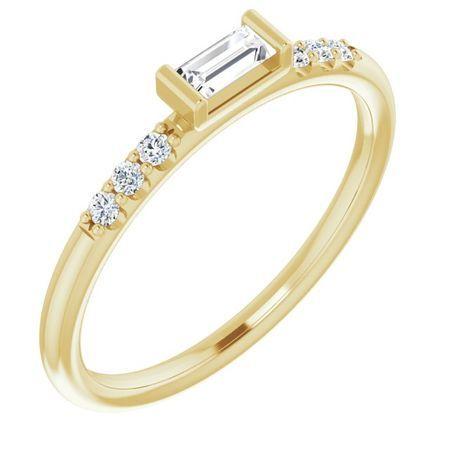 Created Moissanite Ring in 14 Karat Yellow Gold 4x2 mm Straight Baguette Forever One Moissanite & 1/10 Carat Diamond Ring