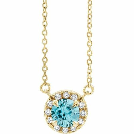 Genuine Zircon Necklace in 14 Karat Yellow Gold 5.5 mm Round Genuine Zircon & 1/8 Carat Diamond 18