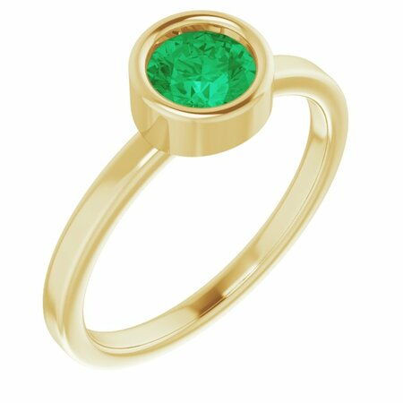 Genuine Emerald Ring in 14 Karat Yellow Gold 5.5 mm Round Emerald Ring