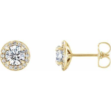 Created Moissanite Earrings in 14 Karat Yellow Gold 5.5 mm Round Forever One Moissanite & 1/6 Carat Diamond Earrings