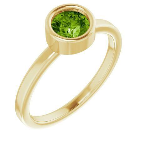 Genuine Peridot Ring in 14 Karat Yellow Gold 5.5 mm Round Peridot Ring
