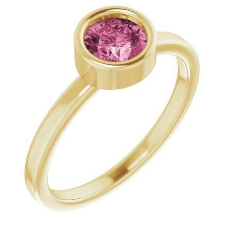 Pink Tourmaline Ring in 14 Karat Yellow Gold 5.5 mm Round Pink Tourmaline Ring