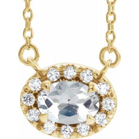 White Diamond Necklace in 14 Karat Yellow Gold 5/8 Carat Diamond 16