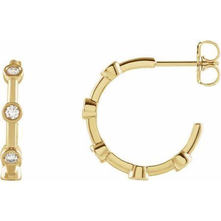 White Diamond Earrings in 14 Karat Yellow Gold 5/8 Carat Diamond Bezel-Set Hoop Earrings