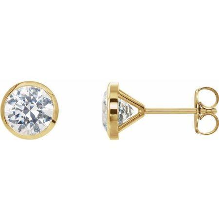 White Diamond Earrings in 14 Karat Yellow Gold 5/8 Carat Diamond CocKaratail-Style Earrings