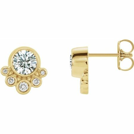 White Diamond Earrings in 14 Karat Yellow Gold 5/8 Carat Diamond Earrings