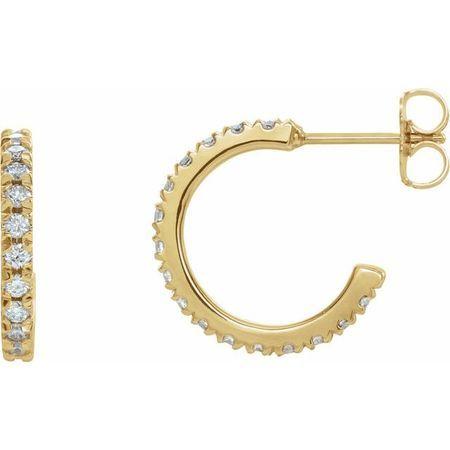 White Diamond Earrings in 14 Karat Yellow Gold 5/8 Carat Diamond French-Set 15 mm Hoop Earrings