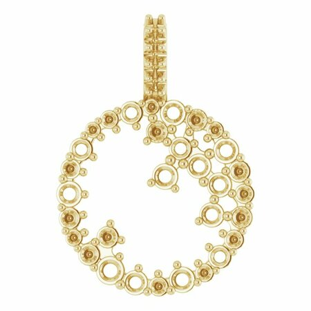 White Diamond Pendant in 14 Karat Yellow Gold 5/8 Carat Diamond Scattered Circle Pendant