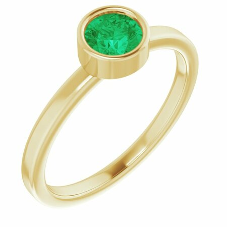 Genuine Emerald Ring in 14 Karat Yellow Gold 5 mm Round Emerald Ring