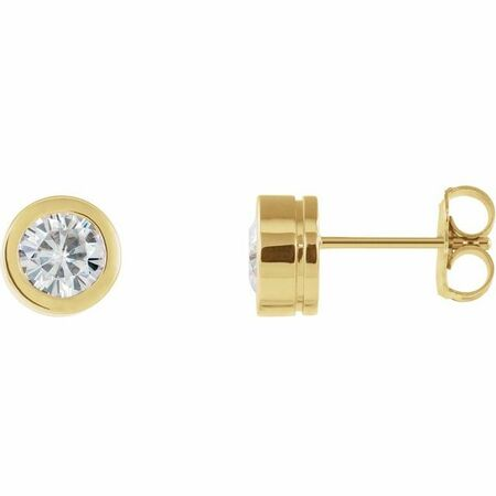 Created Moissanite Earrings in 14 Karat Yellow Gold 5 mm Round Forever One Moissanite Earrings