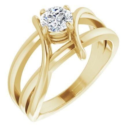 Created Moissanite Ring in 14 Karat Yellow Gold 5 mm Round Forever One Moissanite Ring