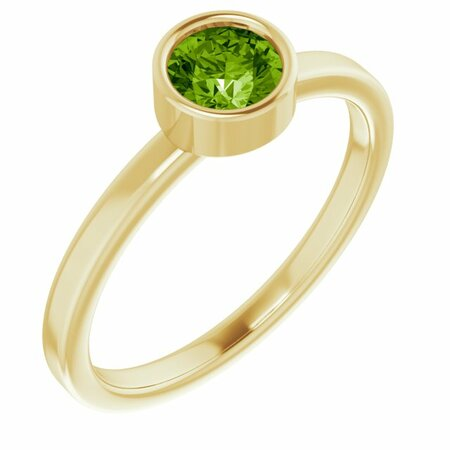Genuine Peridot Ring in 14 Karat Yellow Gold 5 mm Round Peridot Ring