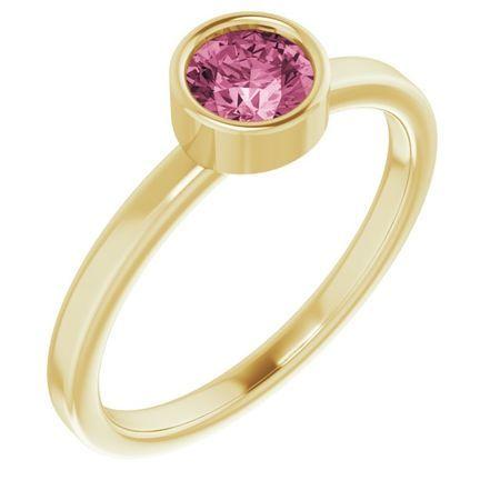 Pink Tourmaline Ring in 14 Karat Yellow Gold 5 mm Round Pink Tourmaline Ring