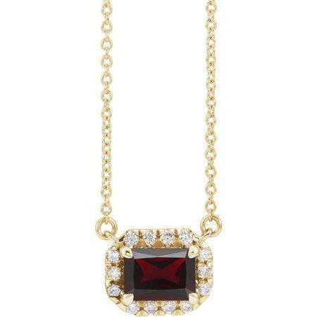Red Garnet Necklace in 14 Karat Yellow Gold 5x3 mm Emerald Mozambique Garnet & 1/8 Carat Diamond 18