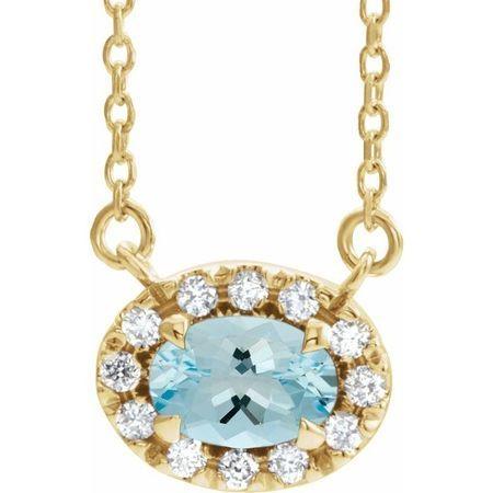 Genuine Aquamarine Necklace in 14 Karat Yellow Gold 5x3 mm Oval Aquamarine & .05 Carat Diamond 16
