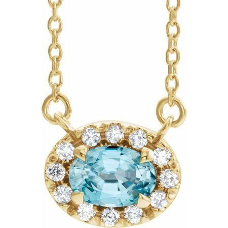 Genuine Zircon Necklace in 14 Karat Yellow Gold 5x3 mm Oval Genuine Zircon & .05 Carat Diamond 18