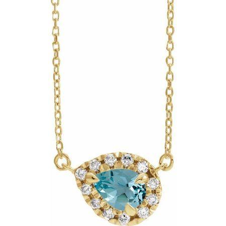 Genuine Zircon Necklace in 14 Karat Yellow Gold 5x3 mm Pear Genuine Zircon & 1/8 Carat Diamond 16