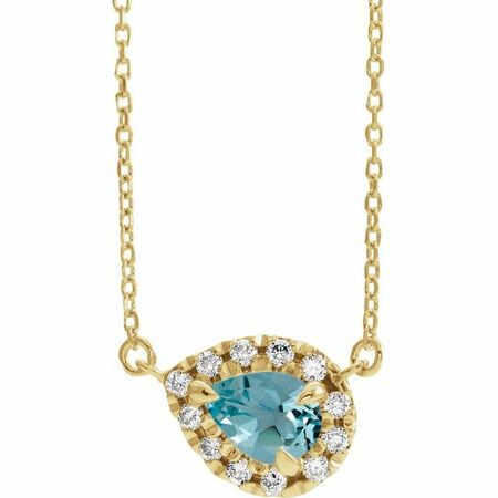 Genuine Zircon Necklace in 14 Karat Yellow Gold 5x3 mm Pear Genuine Zircon & 1/8 Carat Diamond 18