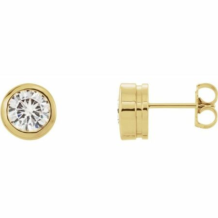 Created Moissanite Earrings in 14 Karat Yellow Gold 6.5 mm Round Forever One Moissanite Earrings