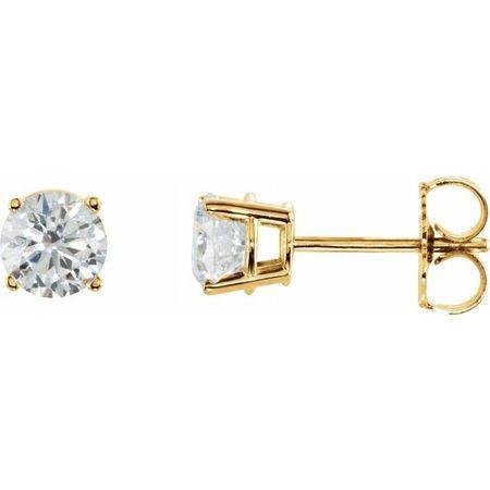 Moissanite Earrings in 14 Karat Yellow Gold 6.5 mm Round Stuller Created Moissanite Earrings