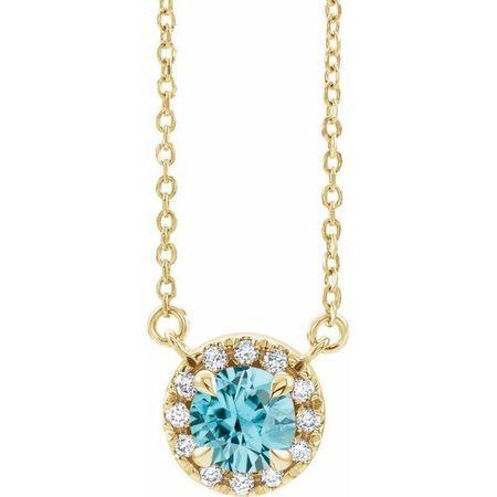 Genuine Zircon Necklace in 14 Karat Yellow Gold 6 mm Round Genuine Zircon & 1/5 Carat Diamond 18