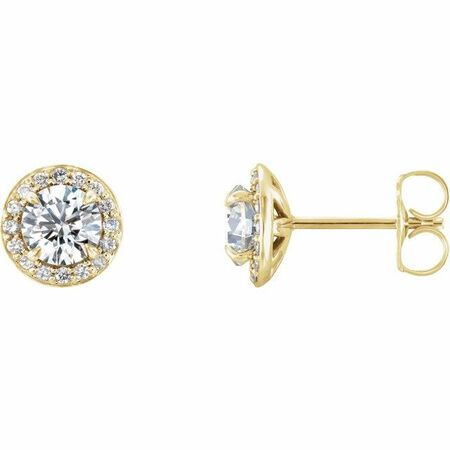 Created Moissanite Earrings in 14 Karat Yellow Gold 6 mm Round Forever One Moissanite & 1/5 Carat Diamond Earrings