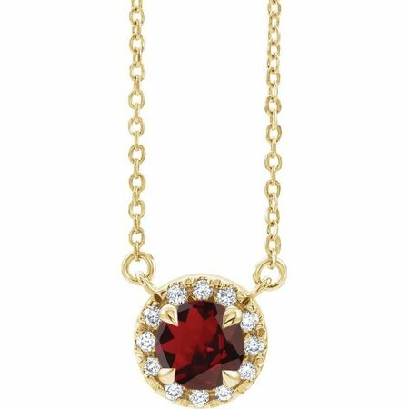Red Garnet Necklace in 14 Karat Yellow Gold 6 mm Round Mozambique Garnet & 1/5 Carat Diamond 16