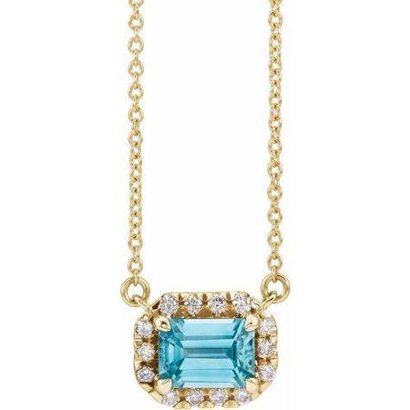 Genuine Zircon Necklace in 14 Karat Yellow Gold 6x4 mm Emerald Genuine Zircon & 1/5 Carat Diamond 16
