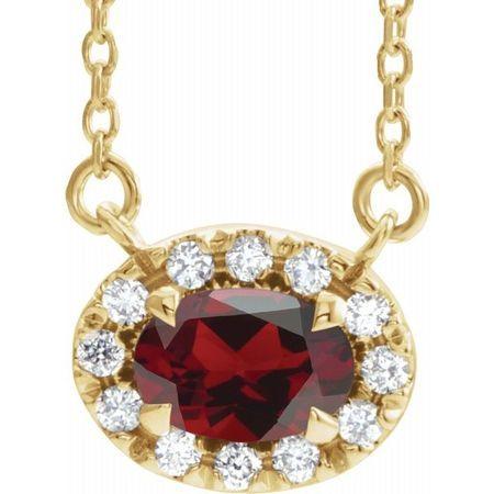 Red Garnet Necklace in 14 Karat Yellow Gold 6x4 mm Oval Mozambique Garnet & 1/10 Carat Diamond 18