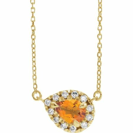 Golden Citrine Necklace in 14 Karat Yellow Gold 6x4 mm Pear Citrine & 1/6 Carat Diamond 16
